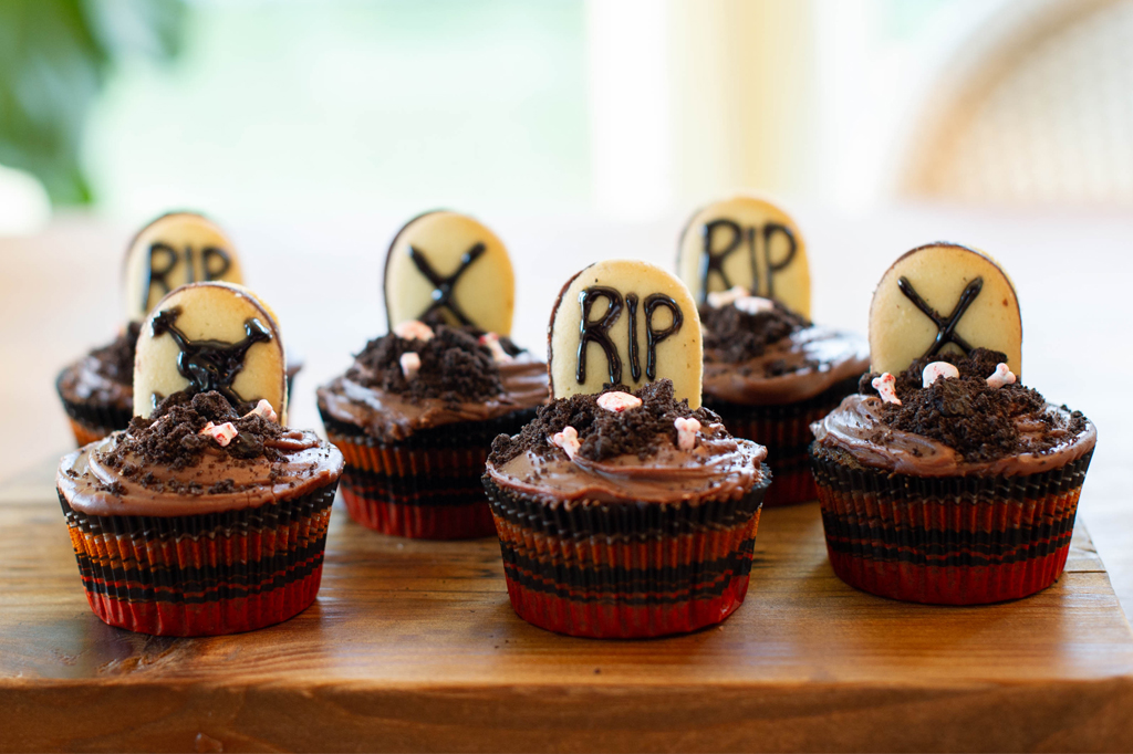 Spooky Tombstone Chocolate Cupcakes